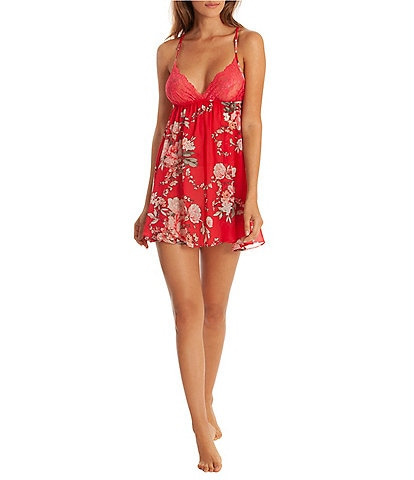 In Bloom by Jonquil Moonlight & Roses Floral-Printed Crinkle Chiffon Chemise