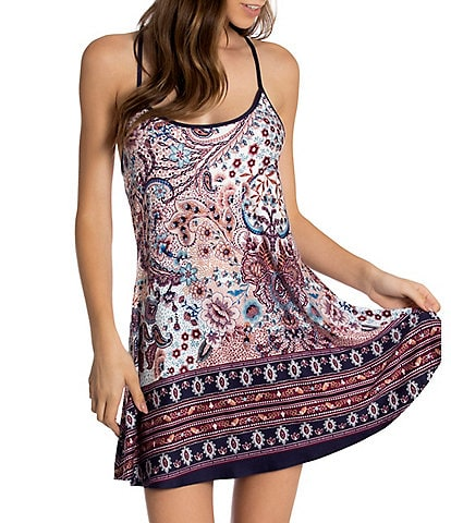 In Bloom by Jonquil Paisley Print Jersey Knit Scoop Neck Chemise