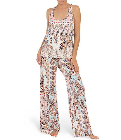 In Bloom by Jonquil Paisley Print Jersey Pajama Set