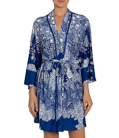 In Bloom by Jonquil Paisley Printed Knit Short Wrap Robe