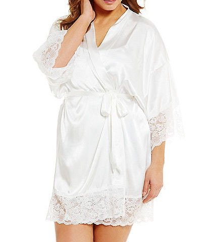 In Bloom by Jonquil Plus Satin & Lace Bridal Robe