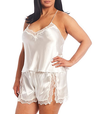 In Bloom by Jonquil Plus Solid Satin & Lace Shorty Pajama Set