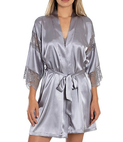 In Bloom by Jonquil Satin & Lace Short Wrap Robe