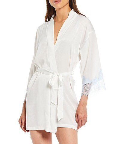 In Bloom by Jonquil Solid Shimmer Satin Short Wrap Robe