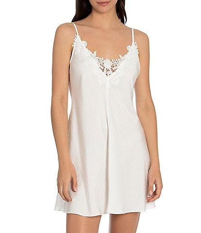 In Bloom by Jonquil Solid Washed Floral V-Neck Satin Chemise