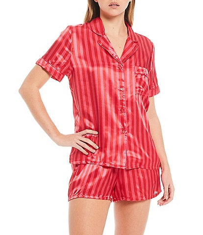In Bloom by Jonquil Striped Print Satin Shorty Pajama Set
