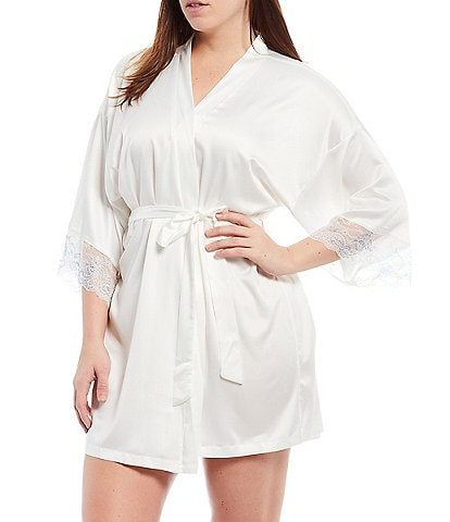 In Bloom by Jonquil Plus Size #double;The Mrs.#double; Bridal Satin & Lace Short Wrap Robe