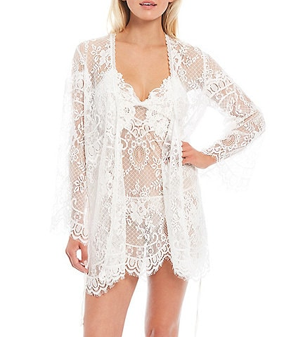 In Bloom by Jonquil Vintage Lace Short Wrap Robe