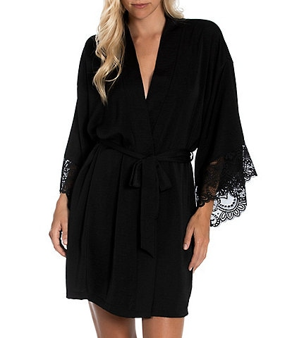 In Bloom by Jonquil Yvette Satin & Lace Kimono Sleeve Short Wrap Robe