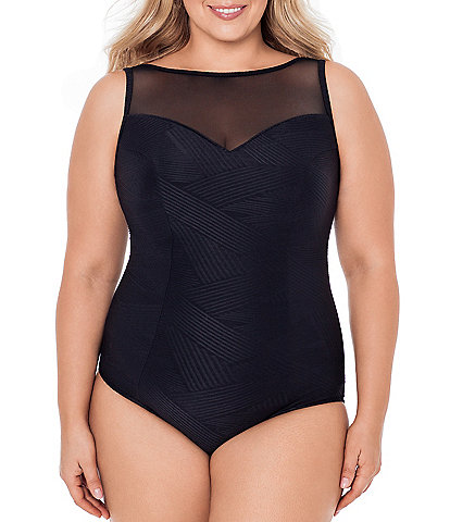 Inches Away Plus Size Mesh Highneck Textured Tummy Control One Piece Swimsuit