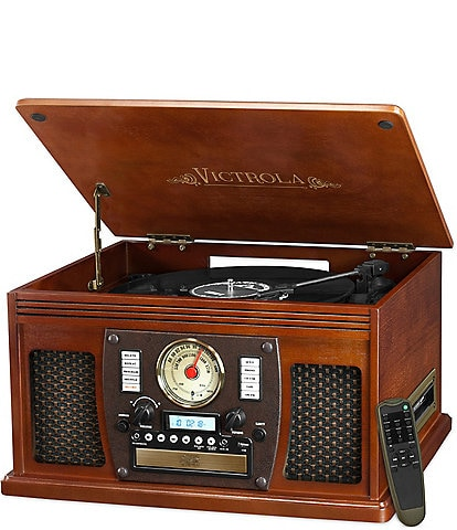 Innovative Technology Victrola 7-in-1 Bluetooth Wood Record Player with USB Recording