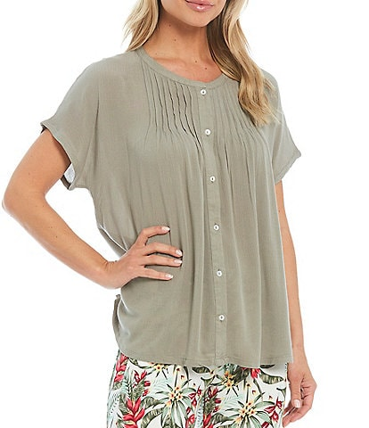 Intro Button Down Short Sleeve Solid Pintuck Blouse