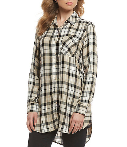 Intro Button Front Plaid Print Tunic