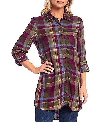 Intro Fall Plaid Tencel Yarn Dye Roll-Tab Sleeve Button Down Hi-Low Shirt
