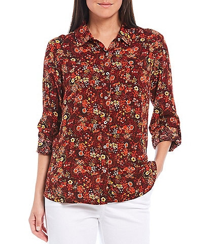 Intro Floral Print Roll-Tab Sleeve Button Down Shirt