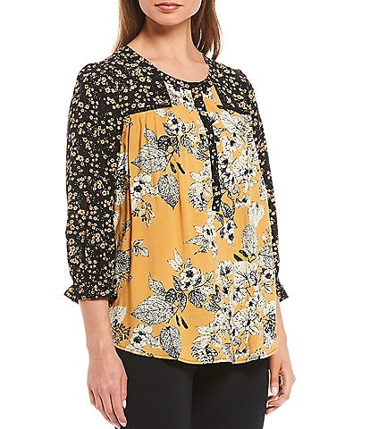 Intro Golden Yellow Mixed Floral Print Rayon 3/4 Ruffle Trim Sleeve Button Front Peasant Top
