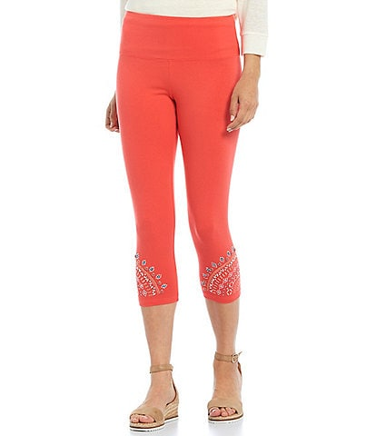 Intro Jewel Novelty Embellished Side Hem Capri Leggings