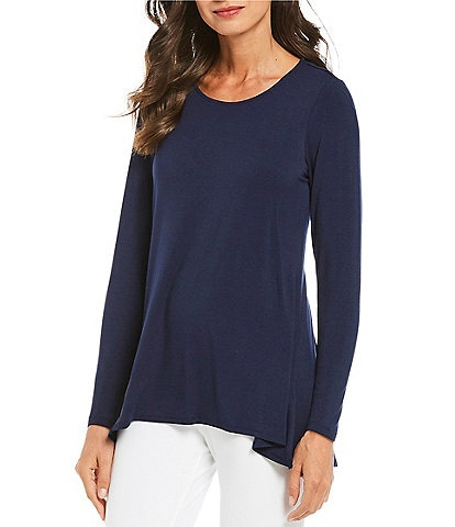 Intro Long Sleeve Solid Pleat Back Detail Swing Top