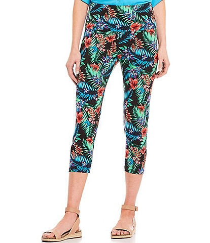 Intro Love the Fit Bright Palm Print Capri Leggings