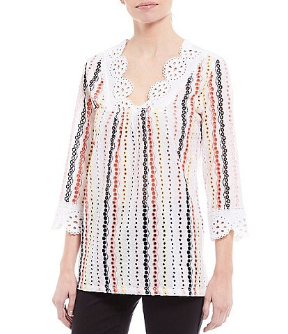 Intro Multi Color Embroidered Eyelet V-Neck 3/4 Sleeve Top