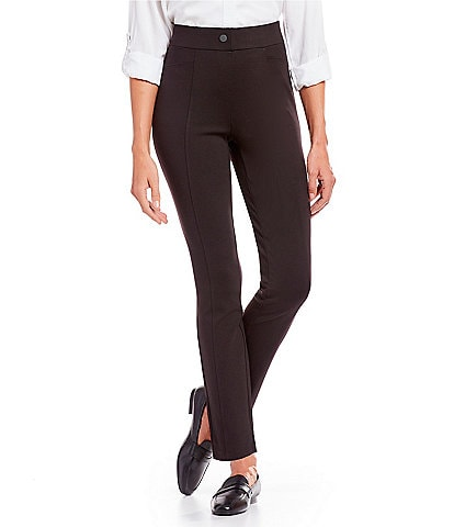 Intro Petite Size Bella Solid Double Knit Slim Her Straight Leg Pants