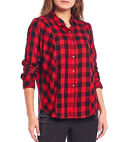 Intro Petite Size Buffalo Check Print Long Sleeve Button Down Shirt