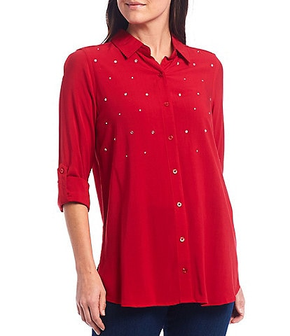 Intro Petite Size Clear Heat Seal Rhinestone Embellished Roll-Tab Sleeve Button Down Shirt