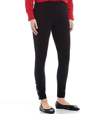 Intro Petite Size Crystal Pull-On Embellished Side Hem Leggings