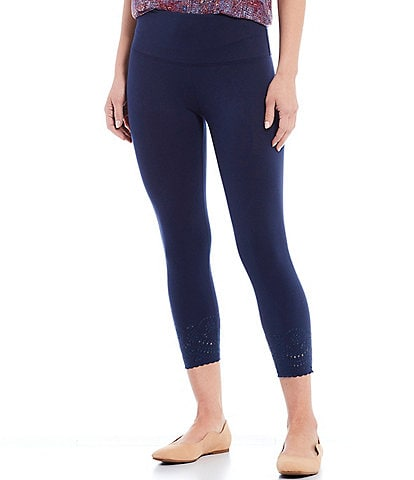Intro Petite Size Knit Twill Pull-On Chiffli Lace Hem Detail Ankle Leggings