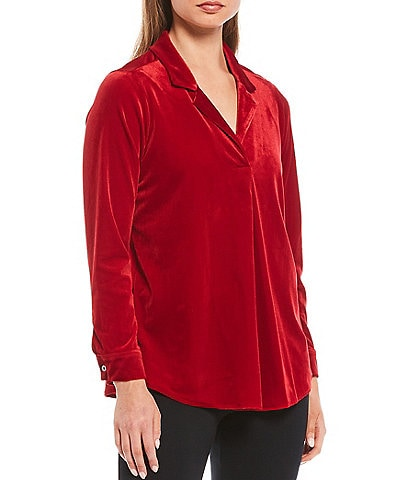 Intro Petite Size Knit Velvet Notch Collar Long Sleeve Top