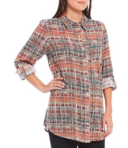 Intro Petite Size Latte Plaid Print Roll-Tab Sleeve Button Down Hi-Low Shirt