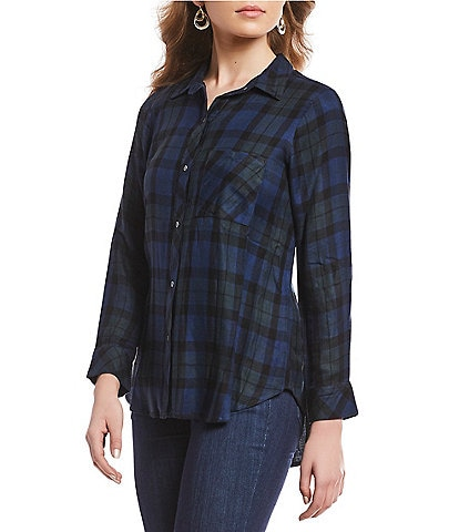 Intro Petite Size Long Sleeve Plaid Button Front Shirt