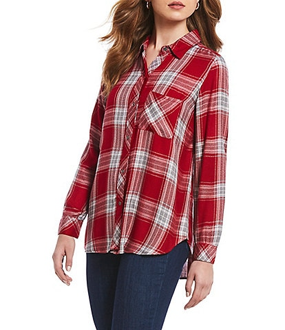 Intro Petite Size Long Sleeve Plaid Hi-Low Shirttail Hem Button Front Shirt