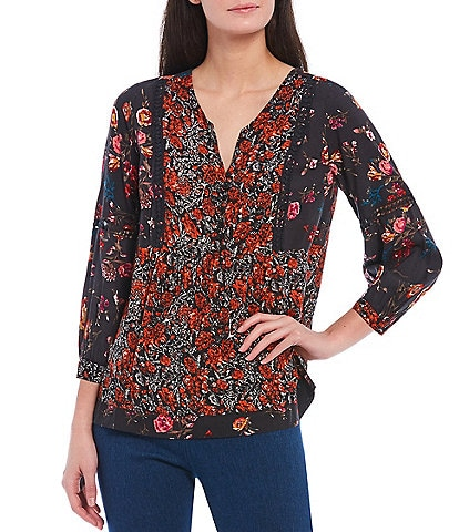 Intro Petite Size Mixed Floral Print Notch V-Neck 3/4 Sleeve Lace Trim Woven Peasant Top