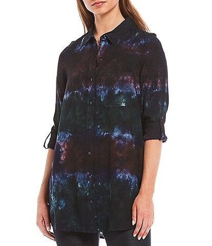 Intro Petite Size Rayon Tie Dye Roll-Tab Sleeve Button Down Hi-Low Shirt