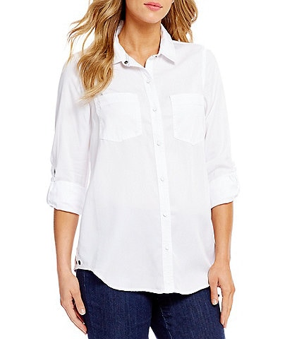 Intro Petite Size Roll-Tab Sleeve Button Front Slub Lyocell Shirt