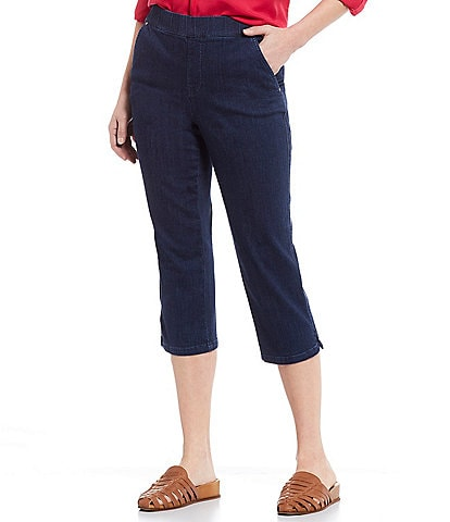 Intro Petite Size #double;Rose#double; Pull-On Denim Capri