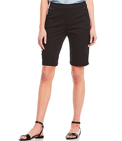 Intro Petite Size Rose Tummy Control Power Stretch Pull-On Bermuda Shorts