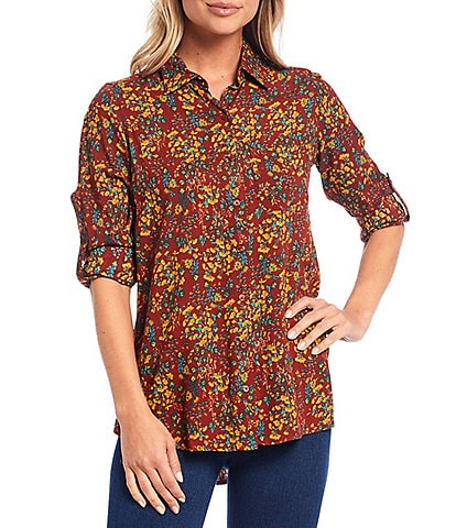 Intro Petite Size Russet Floral Print Roll-Tab Sleeve Button Down Hi-Low Shirt