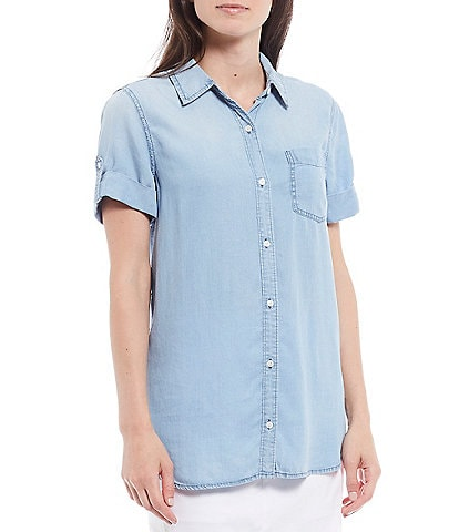 Intro Petite Size Solid Tencel Short Roll-Tab Sleeve Button Down Shirt