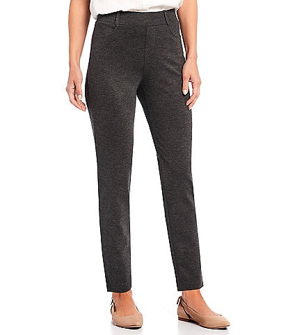Intro Petite Size Stella Double Knit Slim Straight Leg Pull-On Pants