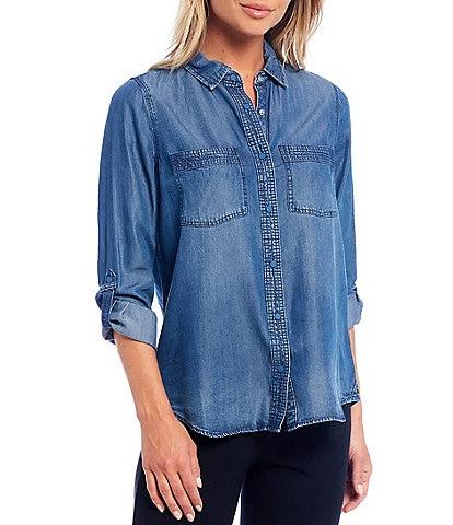 Intro Petites Roll-Tab Sleeve Button Front Slub Lyocell Shirt