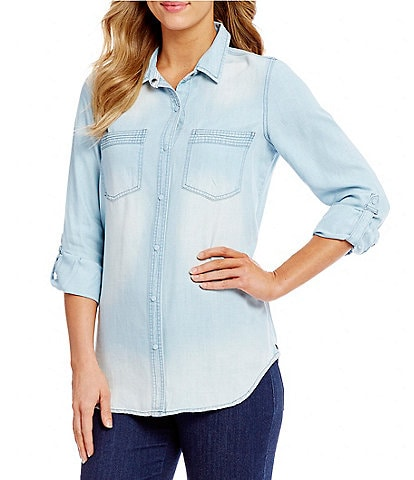 Intro Petites Roll-Tab Sleeve Button Front Slub Lyocell Shirt
