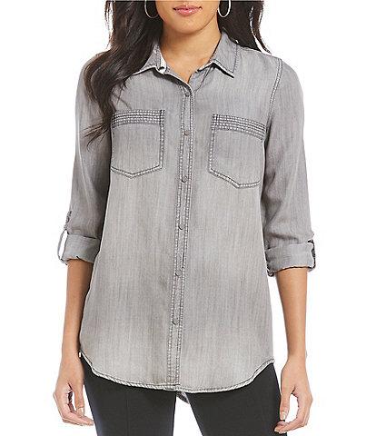 Intro Petite Size Roll-Tab Sleeve Button Front Slub Lyocell Shirt