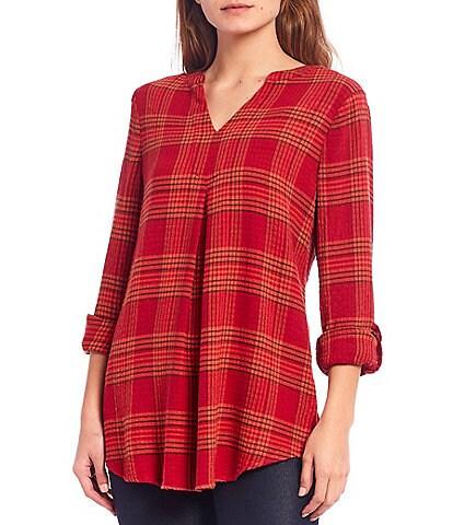 Intro Plaid Print Long Roll-Tab Sleeve Hi-Low Tunic