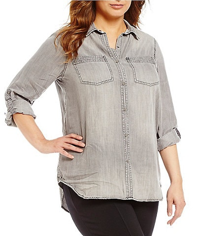 Intro Plus Roll-Tab Sleeve Button Front Slub Lyocell Shirt