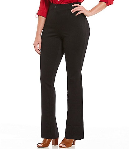 Intro Plus Size Bella Solid Double Knit Slim Her Straight Leg Pants