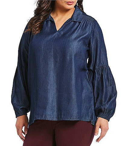 Intro Plus Size Collar Split V-Neck Solid Lantern Sleeve Lyocell Top