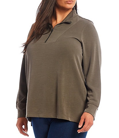 Intro Plus Size Quarter Zip Long Cuffed Sleeve Modal Knit Pullover