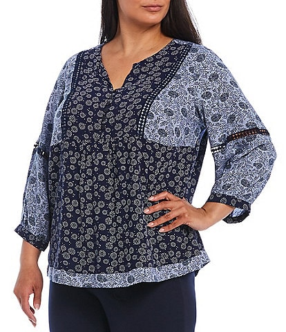 Intro Plus Size Mixed Print Notch V-Neck 3/4 Balloon Sleeve Lace Trim Peasant Top